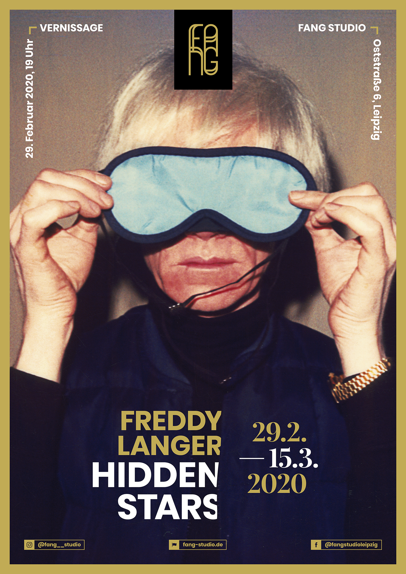Das Motiv des Plakats zeigt den amerikanischen Pop Art Künstler Andy Warhol